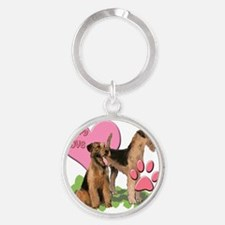 airedale_puppy_love Round Keychain
