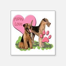 "airedale_puppy_love Square Sticker 3"" x 3"""