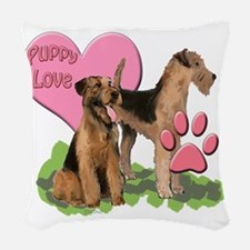 airedale_puppy_love Woven Throw Pillow