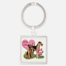 airedale_puppy_love Square Keychain