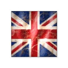 "475 Union Jack Flag square  Square Sticker 3"" x 3"""