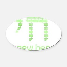 blue_and_white_green Oval Car Magnet