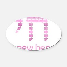blue_and_white_pink Oval Car Magnet