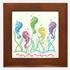 Dancing Seahorses Design Framed Tile