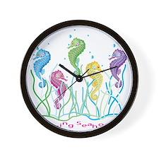 Dancing Seahorses Design Wall Clock