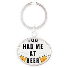 BeerMug3 Oval Keychain