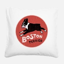 bostonredcirclehigher Square Canvas Pillow