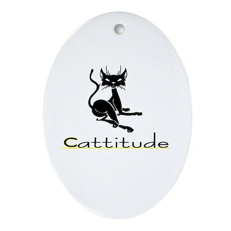 Cattitude Oval Ornament