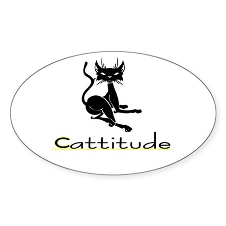 Cattitude Oval Sticker