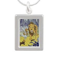 Cowardly_lion2-Dorothy-W Silver Portrait Necklace