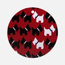 Scottie Dogs Red Round Ornament