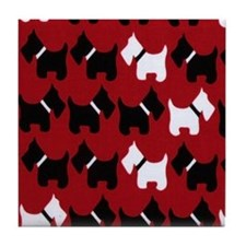 Scottie Dogs Red Tile Coaster