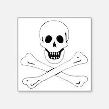 "SkullBonesWhite1 Square Sticker 3"" x 3"""
