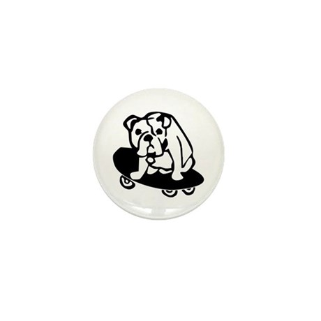 Skateboarding Bulldog Mini Button