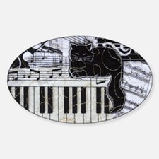 keyboard-sitting-cat-horiz Sticker (Oval)