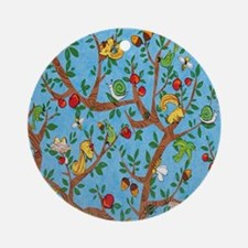 Squirrels Up a Tree Blue Round Ornament