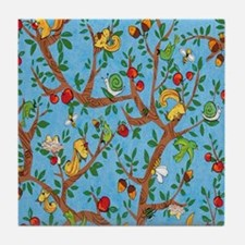 Squirrels Up a Tree Blue Tile Coaster
