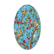 Squirrels Up a Tree Blue Oval Car Magnet