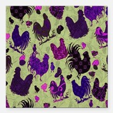 """Tossed Chickens copy Square Car Magnet 3"""" x 3"""""""