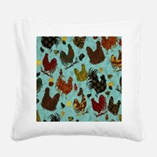 Tossed Chickens Square Canvas Pillow