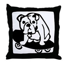 Skateboarding Bulldog Throw Pillow
