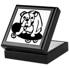 Skateboarding Bulldog Keepsake Box
