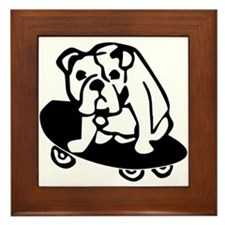 Skateboarding Bulldog Framed Tile