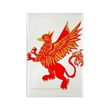 Gryphon Red Gold Rectangle Magnet