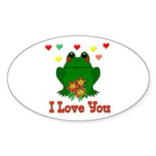 Love Is A Green Frog Oval Decal