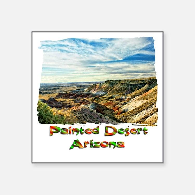 "Color Painted Desert Square Sticker 3"" x 3"""