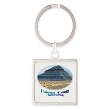 Blue Painted Desert Square Keychain