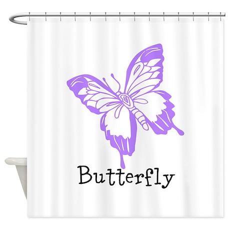 Purple Butterfly Shower Curtain By Beachbumming