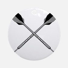 crossed_darts_blk Round Ornament