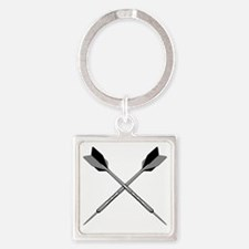 crossed_darts_blk Square Keychain
