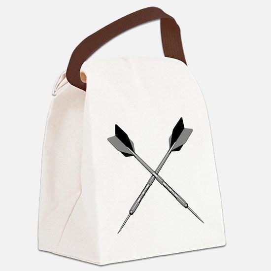 crossed_darts_blk Canvas Lunch Bag