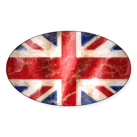 475 Union Jack Flag stadium blanket Sticker (Oval)