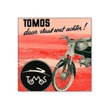 "VINTAGE TOMOS MOPED Square Sticker 3"" x 3"""