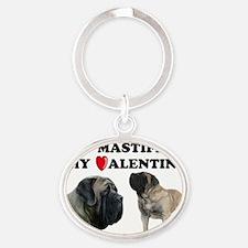 Valentine fawn mastiff Oval Keychain