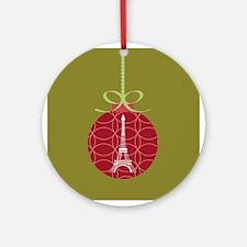 Eiffel Tower Christmas Ornament Ornament (Round)