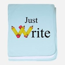 Just Write baby blanket
