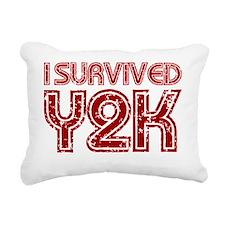 I Survived Y2K dark red Rectangular Canvas Pillow