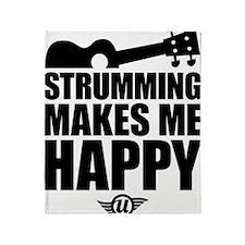 Strumming Makes Me Happy Throw Blanket