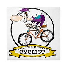WORLDS GREATEST CYCLIST MEN CARTOON Queen Duvet
