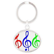 MUSIC V Oval Keychain
