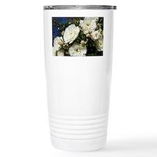 White Roses in Blue Sky Travel Mug