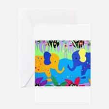 Colorful Elephants at Waterhole Greeting Cards