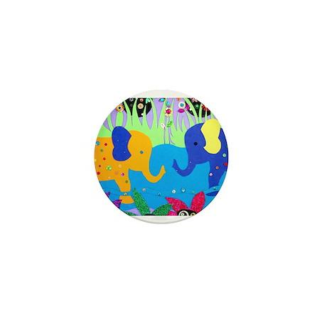 Colorful Elephants at Waterhole Mini Button (10 pa