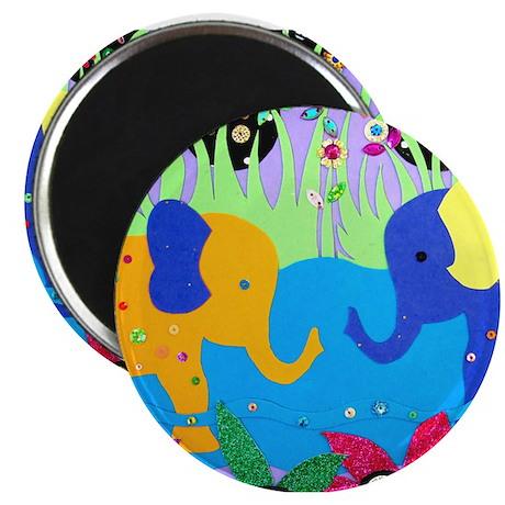 Colorful Elephants at Waterhole Magnets