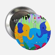 "Colorful Elephants at Waterhole 2.25"" Button"