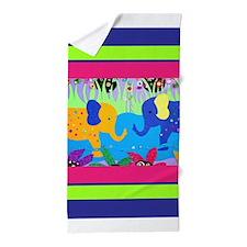 Colorful Elephants at Waterhole Beach Towel